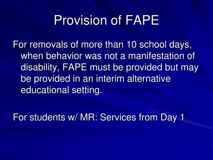 Provision of FAPE