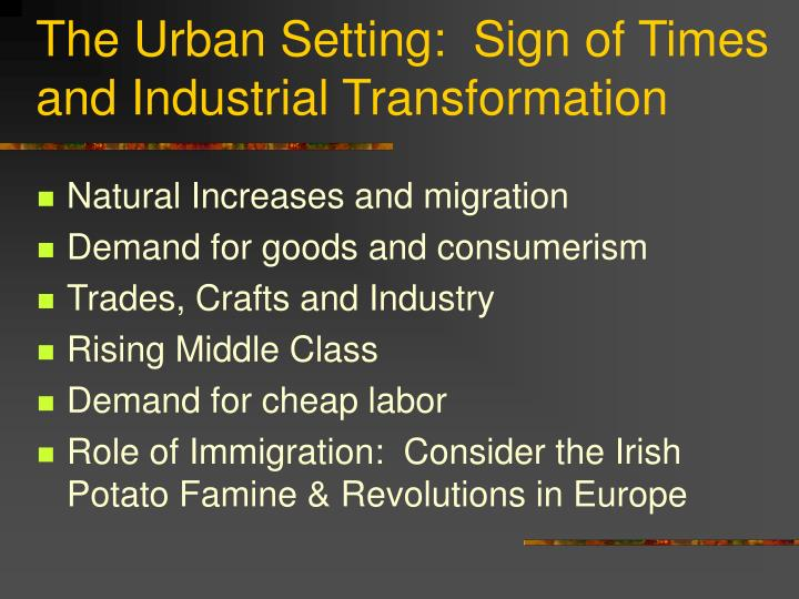 The Urban Setting:  Sign of Times and Industrial Transformation