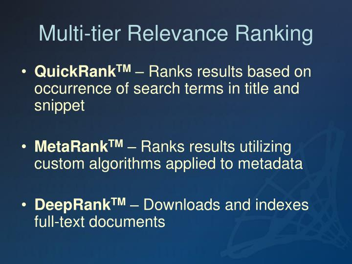 Multi-tier Relevance Ranking