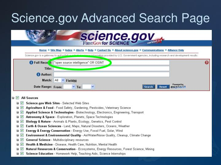 Science.gov Advanced Search Page