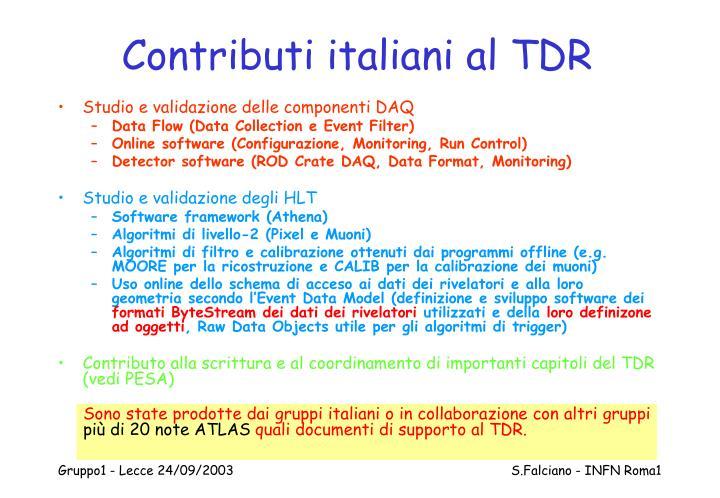 Contributi italiani al TDR