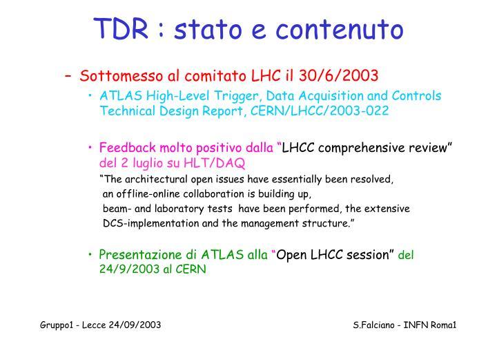 TDR : stato e contenuto