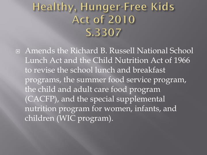 Healthy, Hunger-Free Kids