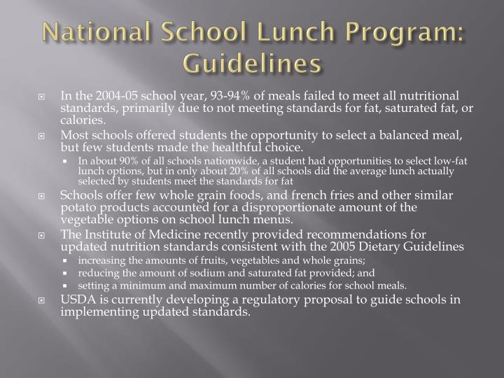 National School Lunch Program: Guidelines