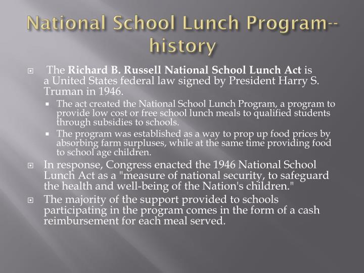 National School Lunch Program--history