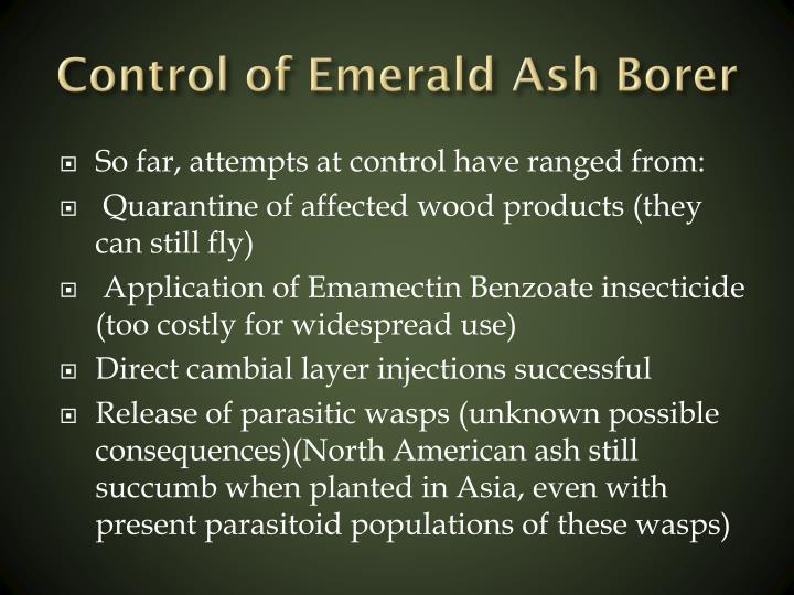 Control of Emerald Ash Borer