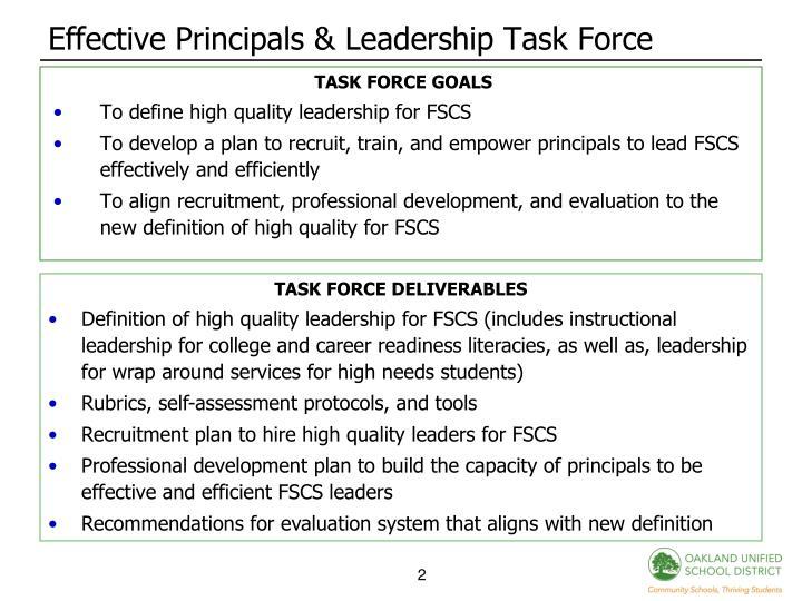 Effective Principals & Leadership Task Force