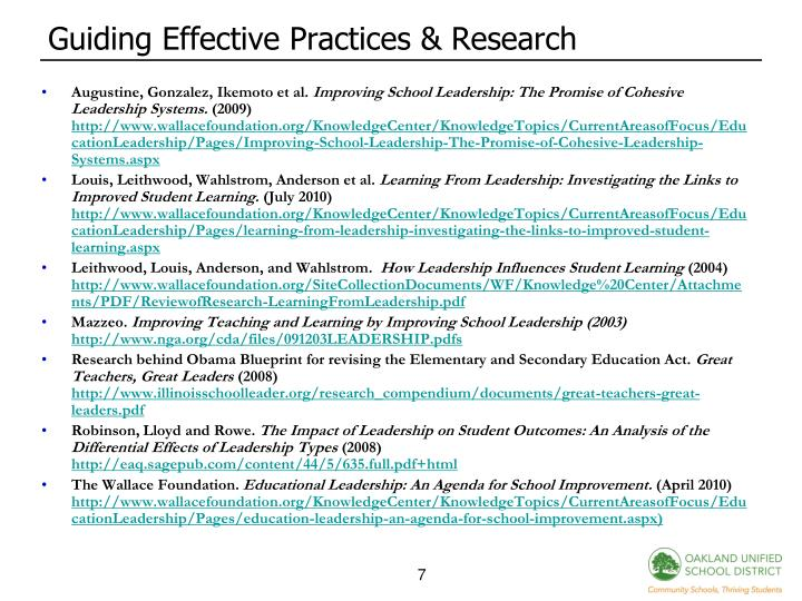 Guiding Effective Practices & Research