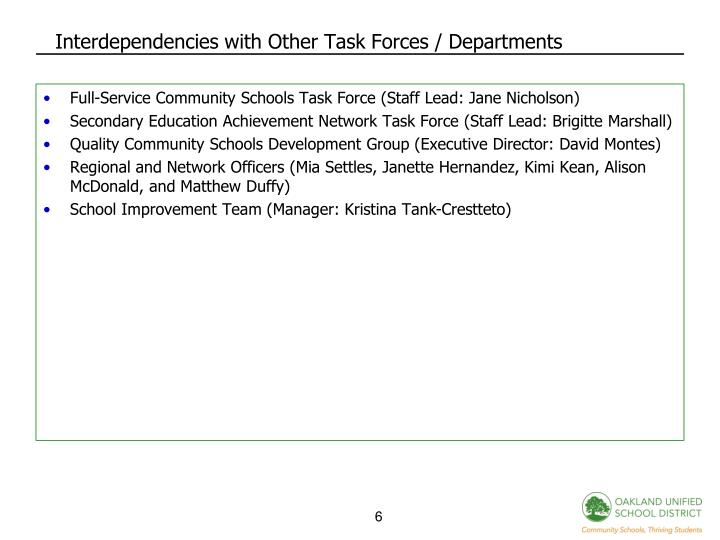 Interdependencies with Other Task Forces / Departments