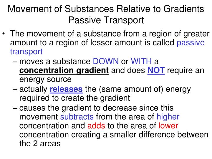 Movement of Substances Relative to Gradients Passive Transport