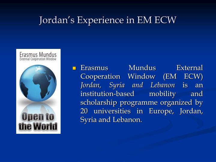 Jordan's Experience in EM ECW