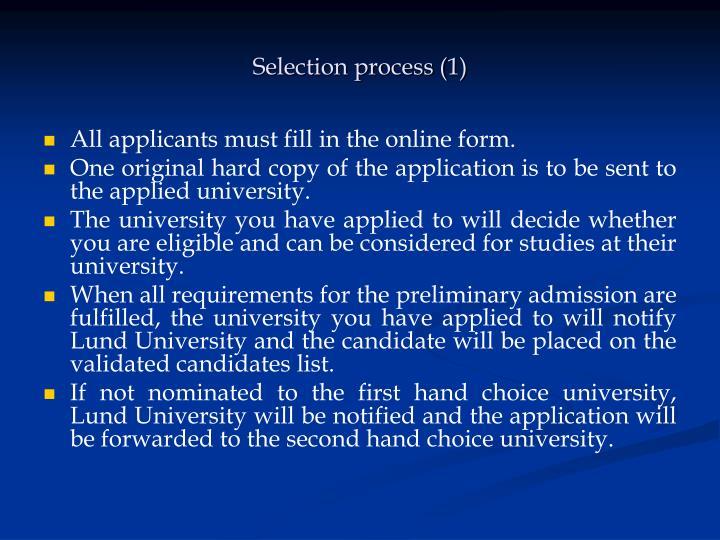 Selection process (1)