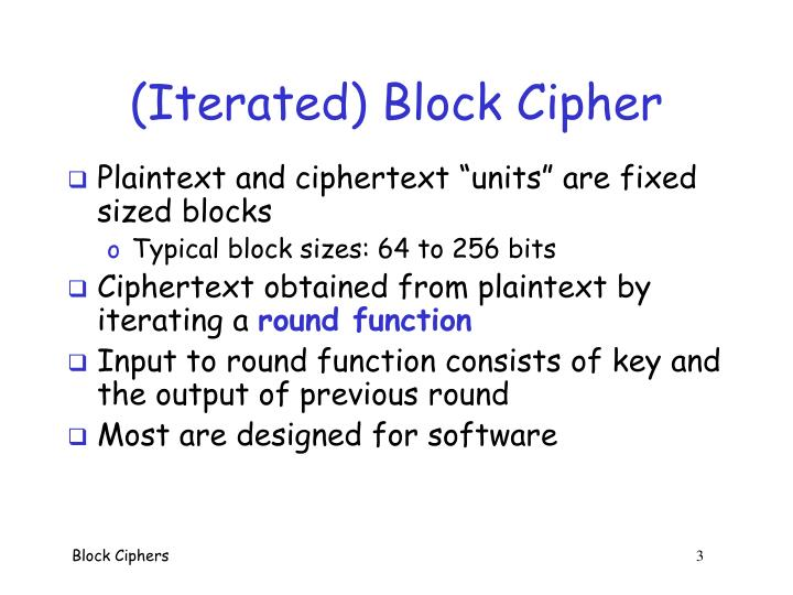 (Iterated) Block Cipher