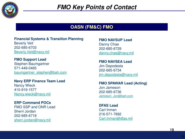 FMO Key Points of Contact