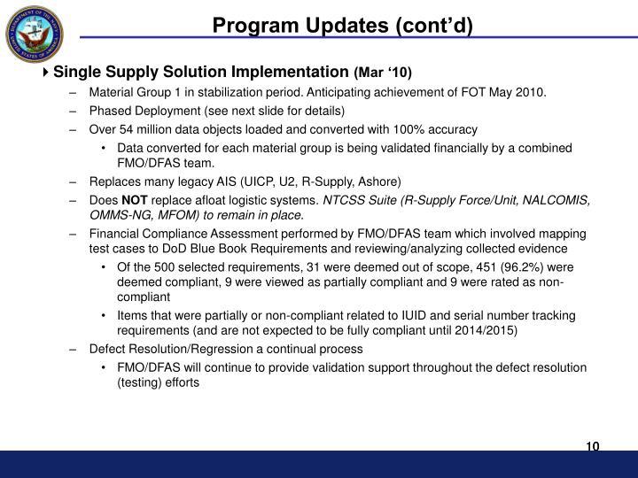 Program Updates (cont'd)