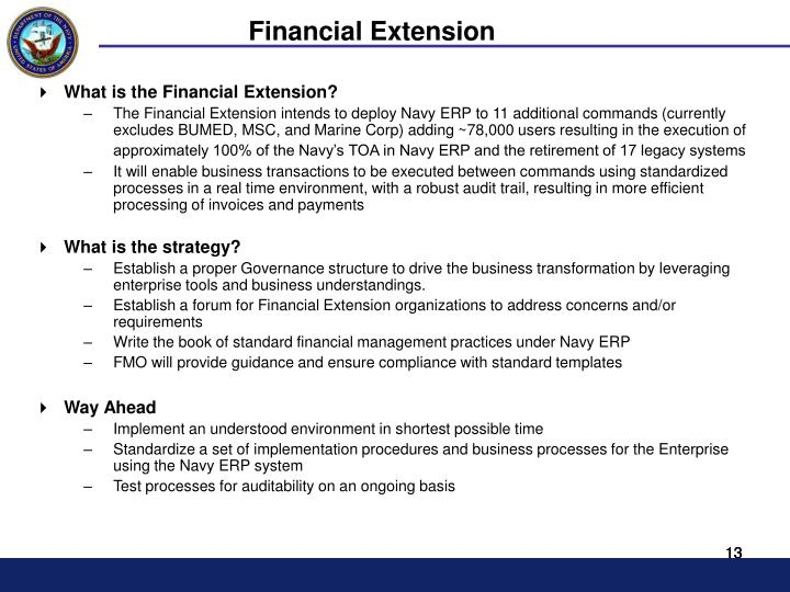 Financial Extension