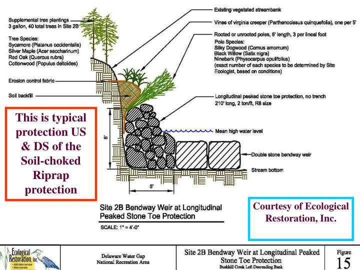 This is typical protection US & DS of the Soil-choked Riprap protection