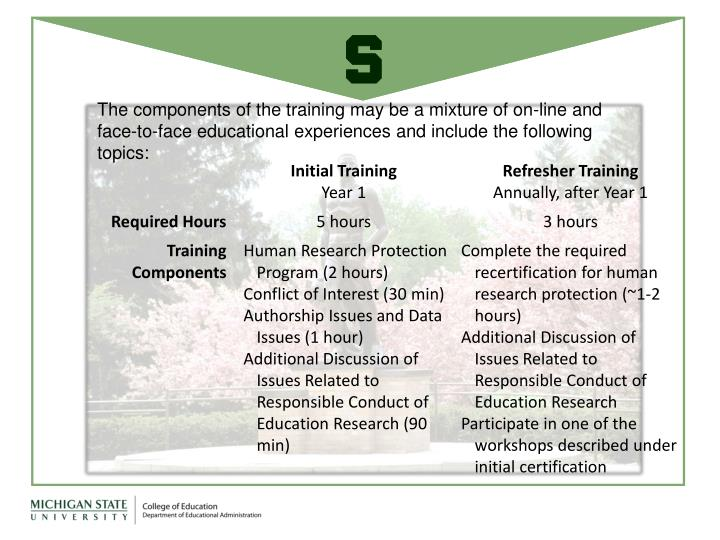 The components of the training may be a mixture of on-line and face-to-face educational experiences and include the following topics: