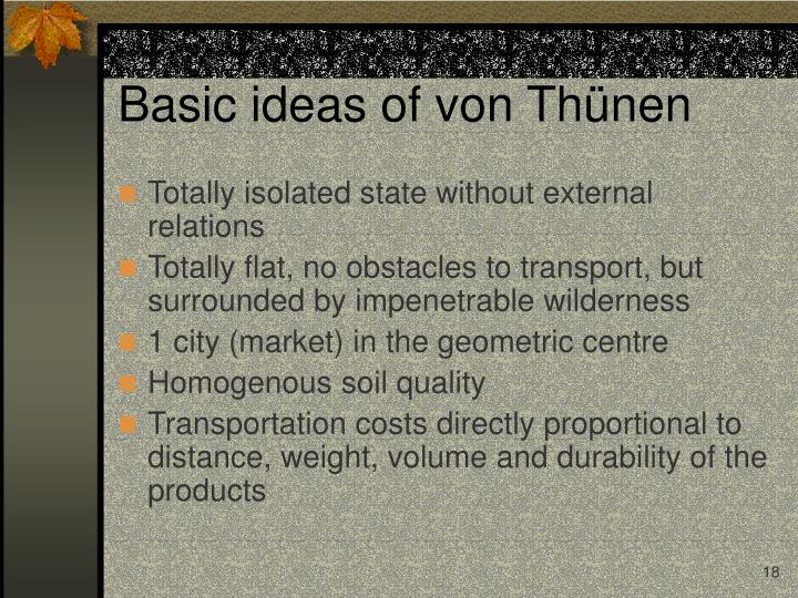 Basic ideas of von Thünen
