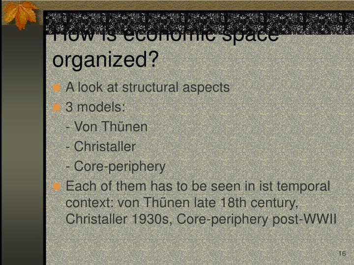 How is economic space organized