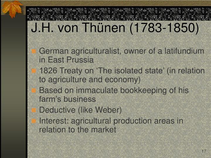 J.H. von Thünen (1783-1850)
