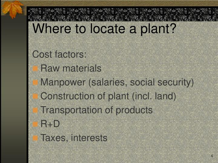 Where to locate a plant?
