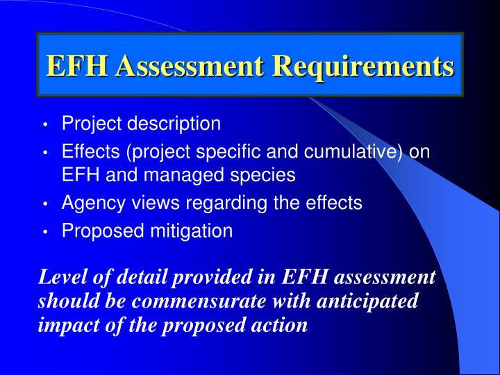 EFH Assessment Requirements
