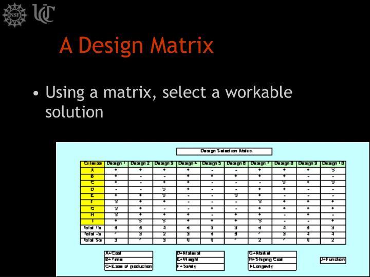 A Design Matrix