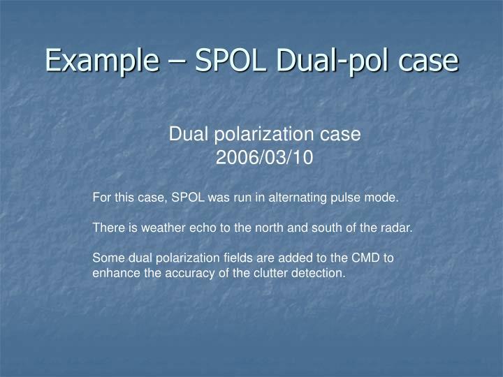 Example – SPOL Dual-pol case