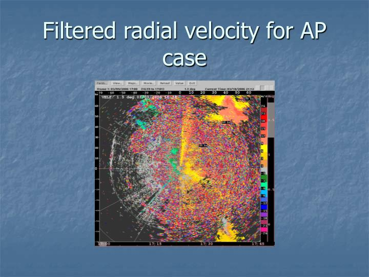 Filtered radial velocity for AP case
