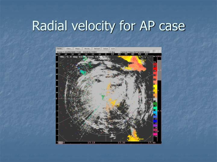 Radial velocity for AP case