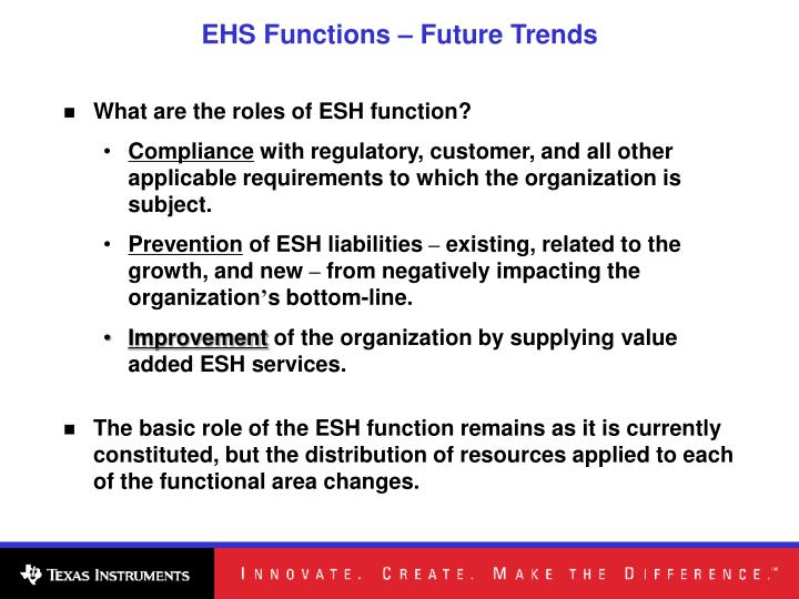 EHS Functions – Future Trends
