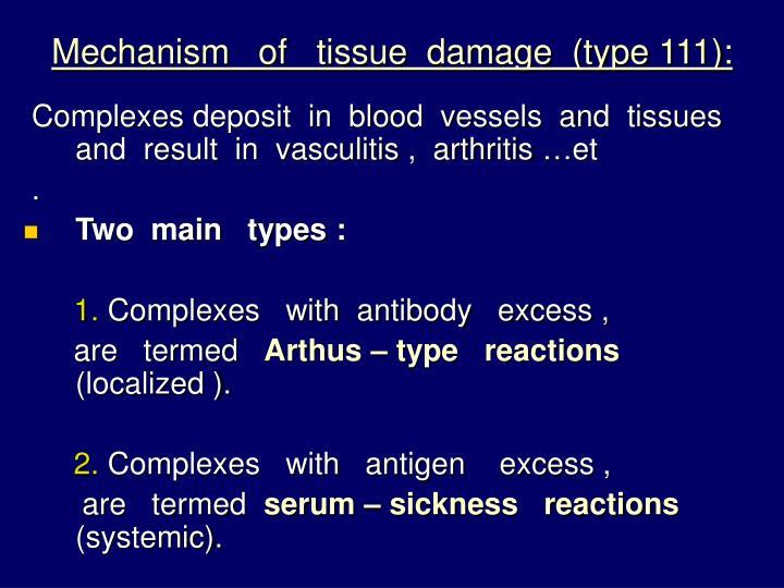 Mechanism   of   tissue  damage  (type 111):