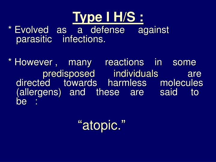 Type I H/S :
