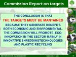 commission report on targets