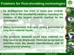 problems for post shredding technologies