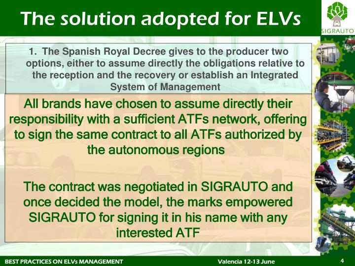 The solution adopted for ELVs