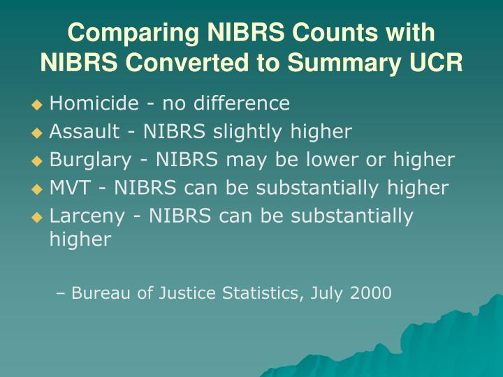 Comparing NIBRS Counts with