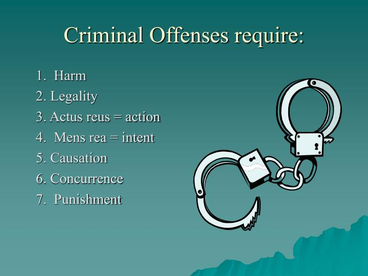 Criminal Offenses require:
