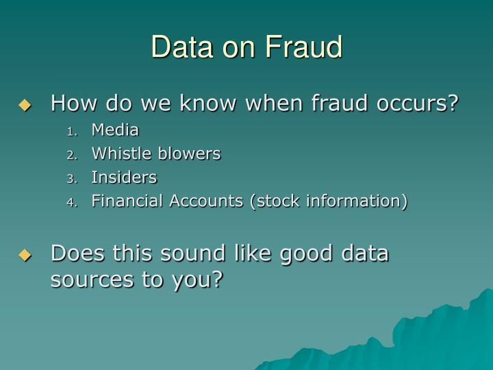 Data on Fraud