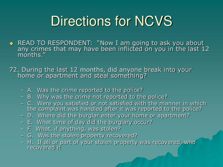 Directions for NCVS