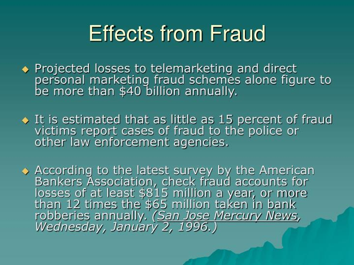 Effects from Fraud