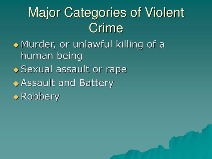 Major Categories of Violent Crime