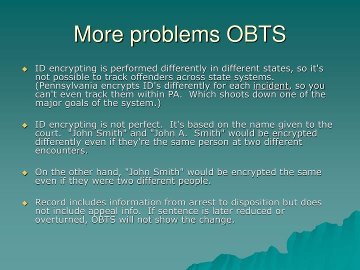 More problems OBTS