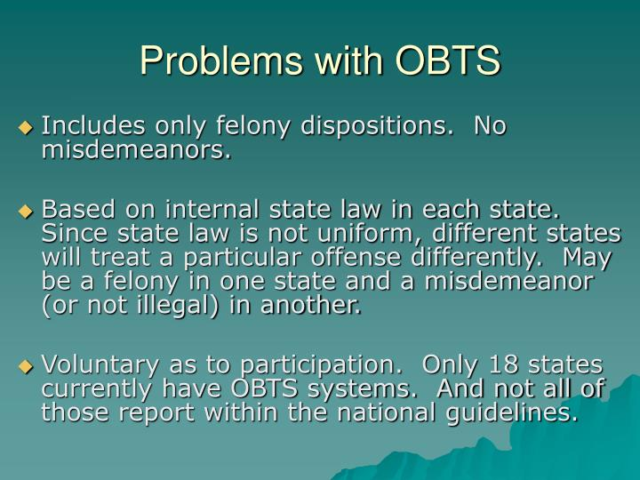 Problems with OBTS