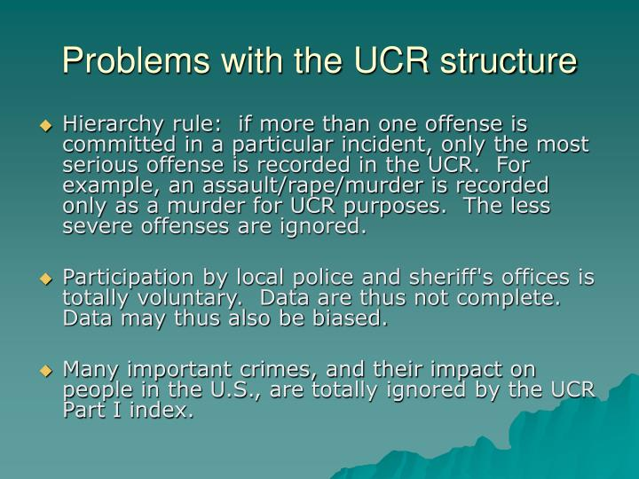 Problems with the UCR structure