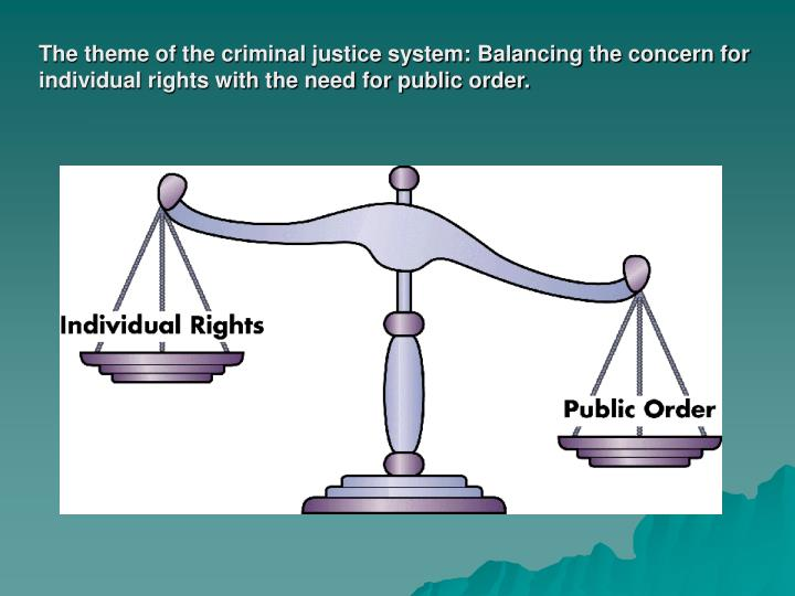 The theme of the criminal justice system: Balancing the concern for individual rights with the need for public order.