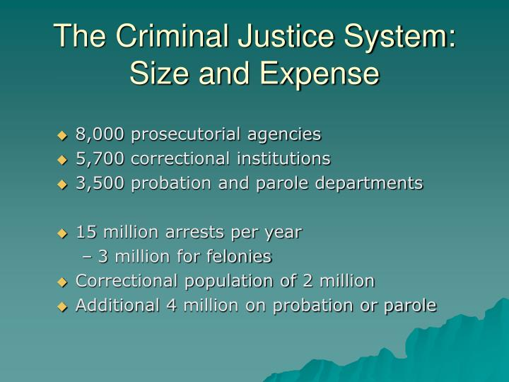 The Criminal Justice System: Size and Expense