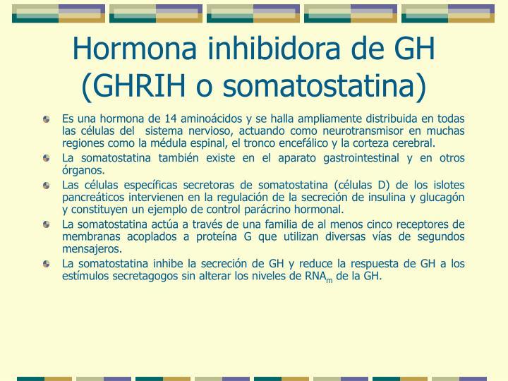 Hormona inhibidora de GH (GHRIH o somatostatina)