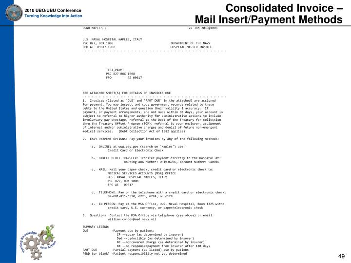Consolidated Invoice –